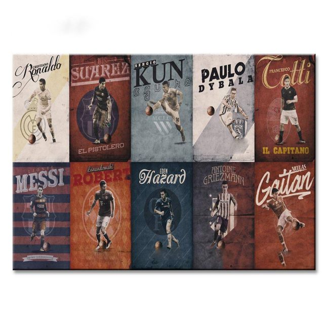 1 Canvas Painting Vintage Ball Star Football Poster Hd Printing On Home Cudaros Picture
