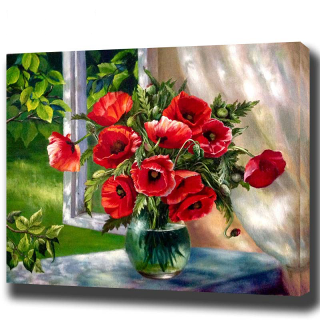 Framed Oil Painting By Numbers Red Flowers Window Pictures Canvas Home H543