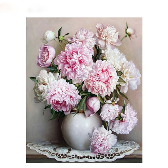 Pink Europe Flower Painting By Numbers Acrylic Paint Handpainted Oil On Canvas Home
