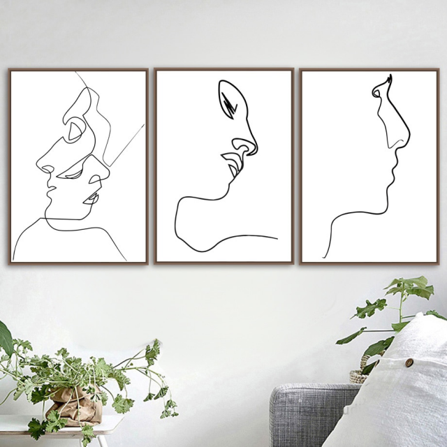 Line Planning Face Wall Art Print Canvas Painting Nordic Poster Black White Home