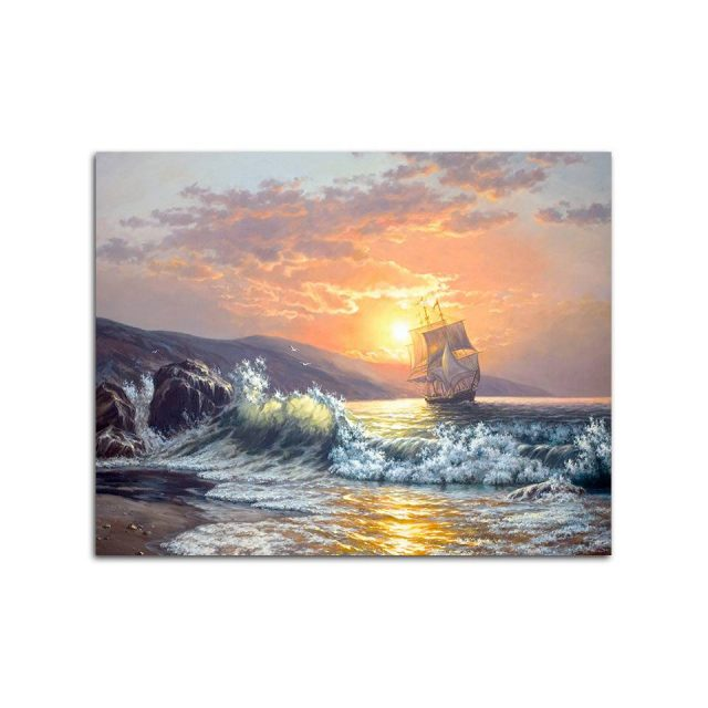 Frameless Sunset Wave Seascape Painting By Numbers Kits Calligraphy Hand Coloring Number Unique