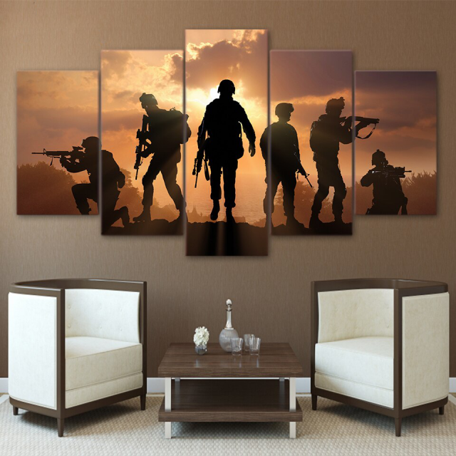 Hd Printed 5 Piece Canvas Art Contribute To Army Soldier Sunset Painting Wall Pictures Living Room