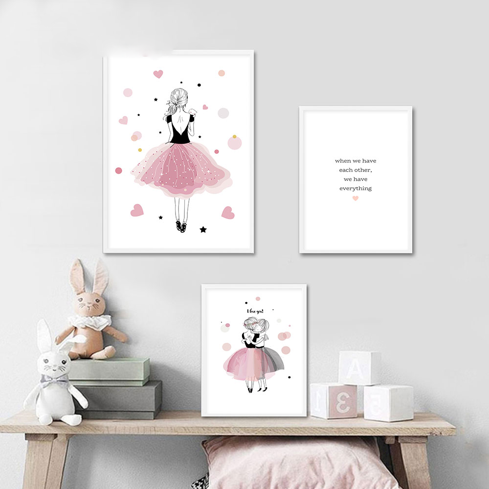 Kawaii Nursery Wall Art Canvas Poster Pink Prints Painting Nordic Pictures Bedroom