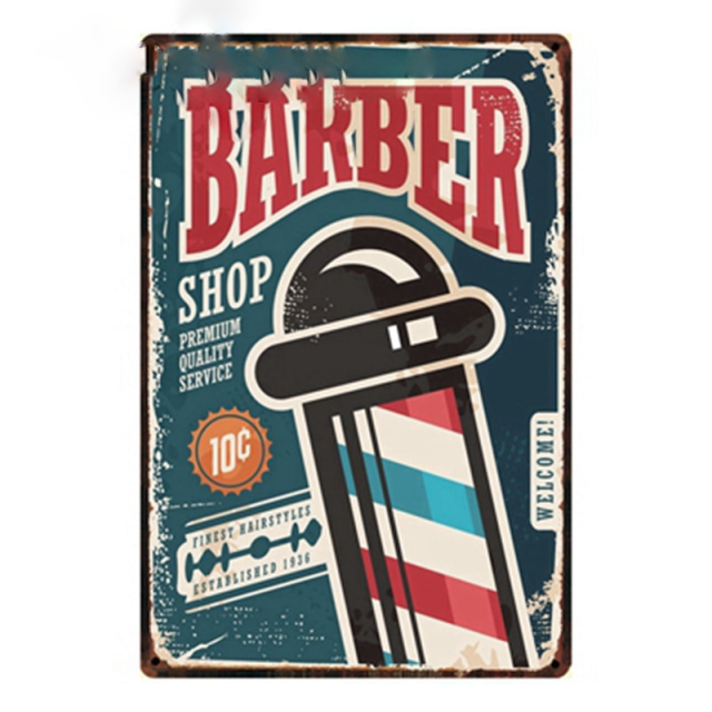 Barber Shop Vintage Poster Painting Wall Plaque Craft 2030 Cm Size Y-1062