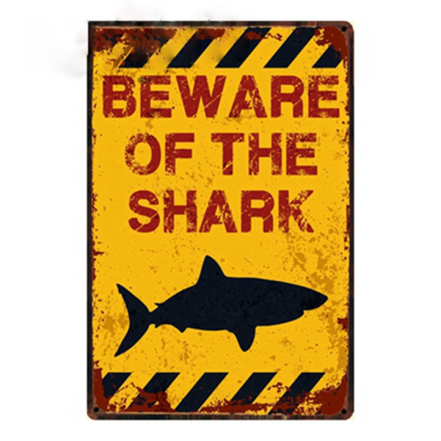 Beware Smake Shark Hunter Eaqle Vintage Metal Sign Tin Poster Home Bar Wall Art Painting 2030 Cm Size Y-1106