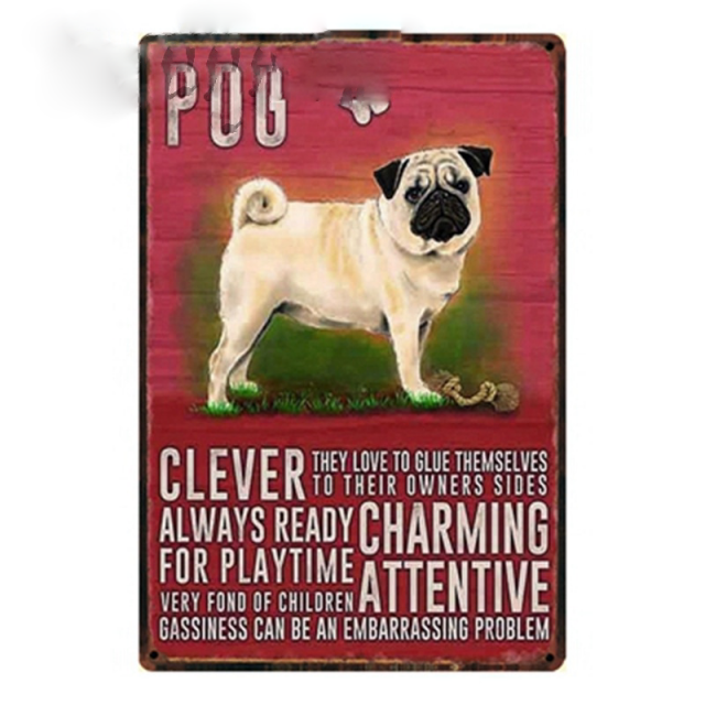 Pug Metal Tin Sign Wall Plaque Pet Store Kennel Dog 2030 Cm Size Y-
