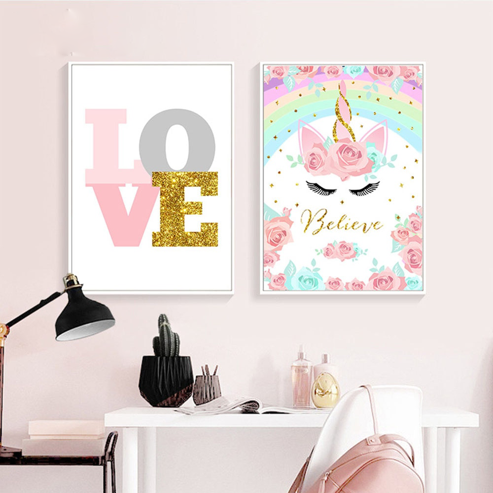 Pink Unicorn Rainbow Canvas Poster Art Print Kid Children Living Room