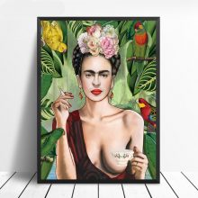 Wall Art Posters Prints Frida Kahlo Portrait Canvas Painting Pictures Living Room Scandinavian