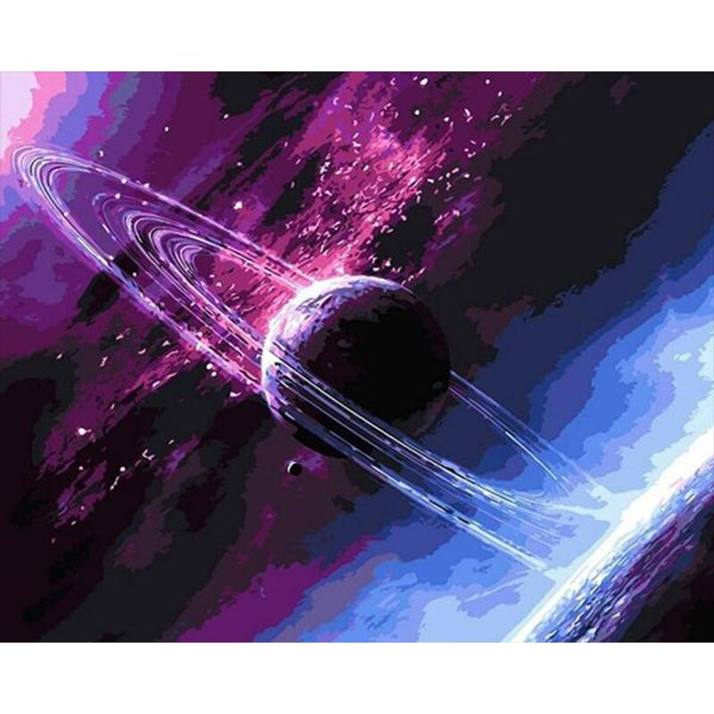 Sdoyuno Purple Planet Frame Paint By Numbers Wall Art Picture Room Decoration Painting