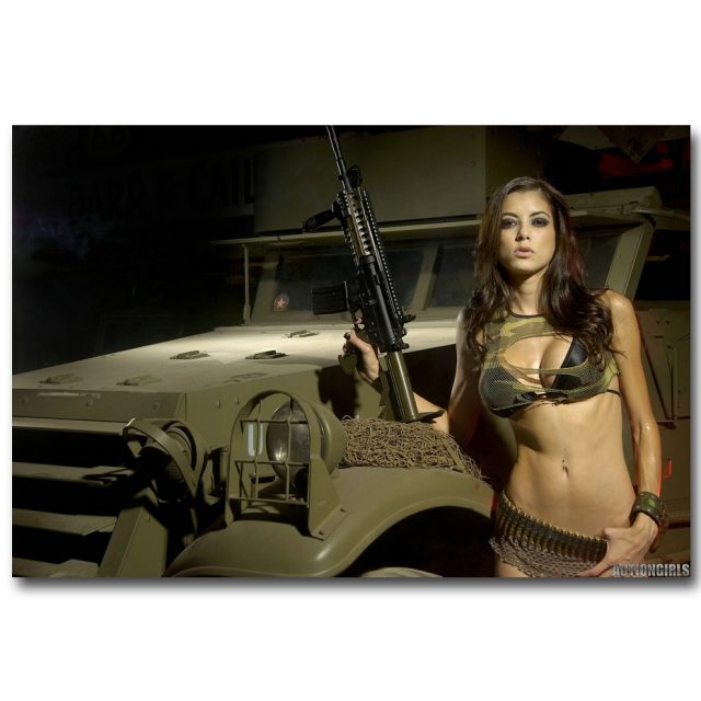 Sexy Ass Gun Art Silk Fabric Poster Canvas Print 13x20 24x36inch Military Pictures Home Wall 005