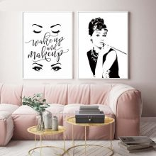 Audrey Hepburn Potrait Make Up Modern Posterampprints Canvas Painting Wall Art Modular Picture Bedroom Home