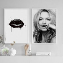 Style Character Supermodel Kate Moss Sexy Lips Life A Joke Lijst Canvas Art Prints Wall Posters Home