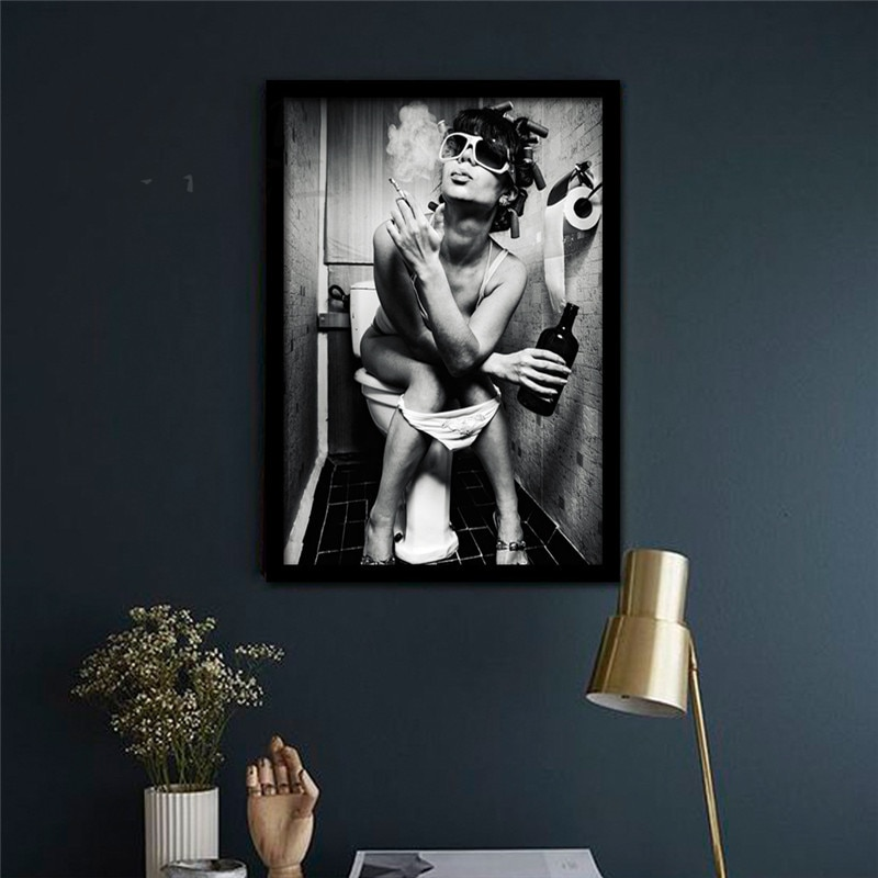 Modern Black White Sexy Charming Beauty Canvas Painting Toilet Pub Bar Home Art Poster Wall Pictures