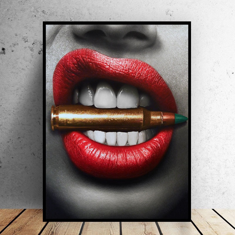Selflessly Wall Art Prints Posters Sexy Red Lips Bite Bullet Money Modern Canvas Paintings Living Room Unframed