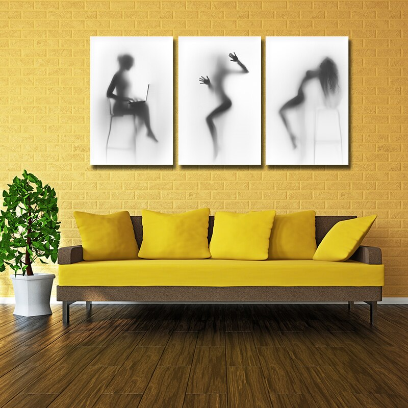 Black White Wall Art Poster Zwart Wit Sexy Nude Canvas Prints Painting Naked In Shower Artwork