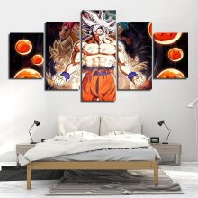5 Piece Canvas Art Dragon Ball Modern Wall Painting Kids Room Anime Goku Picture Artworks Home Printed Posters