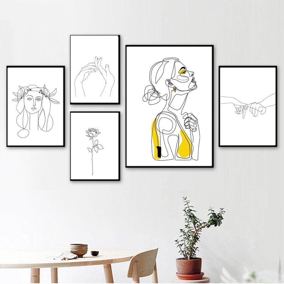 Abstract Women Line Drawing Nordic Posterampprints Modern Canvas Painting Wall Art Yellow Girl Picture Bedroom Home