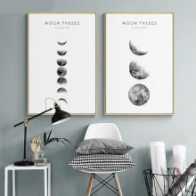 Moon Phase Canvas Posters And Prints Minimalist Wall Art Abstract Painting Nordic Decoration Pictures Modern Home