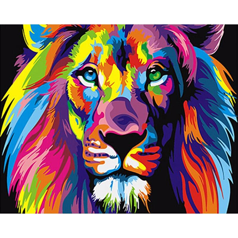 Frameless Colorful Lion Animals Abstract Painting Digital By Numbers Modern Wall Art Picture Home Artwork