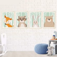 Animal Bear Fox Rabbit Minimalist Art Canvas Poster Painting Print Modern Home Room Wall Picture No Frame