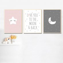 Moon Star Nursery Wall Art Canvas Posters Prints Painting Nordic Picture Bedroom