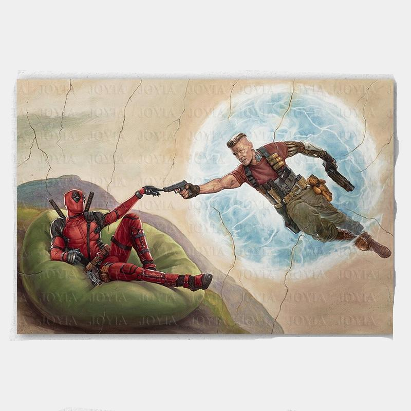 Marvel Comics Deadpool Poster 2 Cable Canvas Art Prints Funny Painting Room Wall 24x36 Inch 28x42
