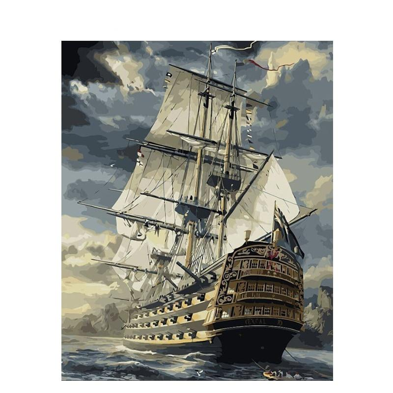 Sailing Boat Painting By Numbers Drawing Kits Paint On Canvas Home Wall Art Picture 40x50