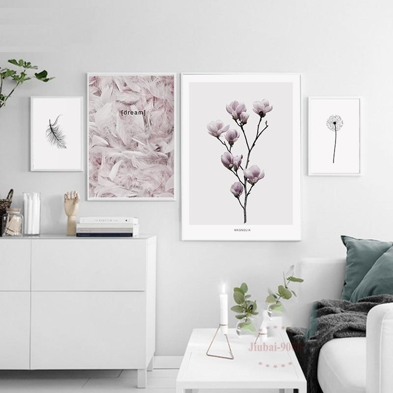 900d Nordic Feather Canvas Art Print Painting Poster Flower Wall Pictures Nor37