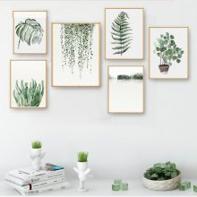 Watercolor Plant Leaves Poster Print Landscape Wall Art Canvas Painting Picture Living Room Home Cactus