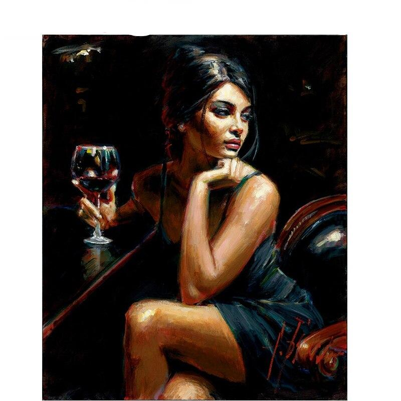 Sexy Wine Painting By Numbers On Canvas Abstract Frameless Oil Home Wall Art Picture P-5117