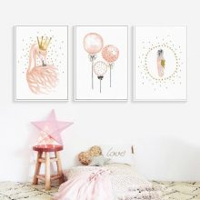 Swan Nordic Poster Wall Art Canvas Painting Feather Posters Animal Print Pictures Balloon Baby Room Unframed