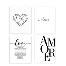 Scandinavian Style Love Poster Black And White Canvas Painting Amore Wall Pictures Living Room Nordic Decoration Home Art