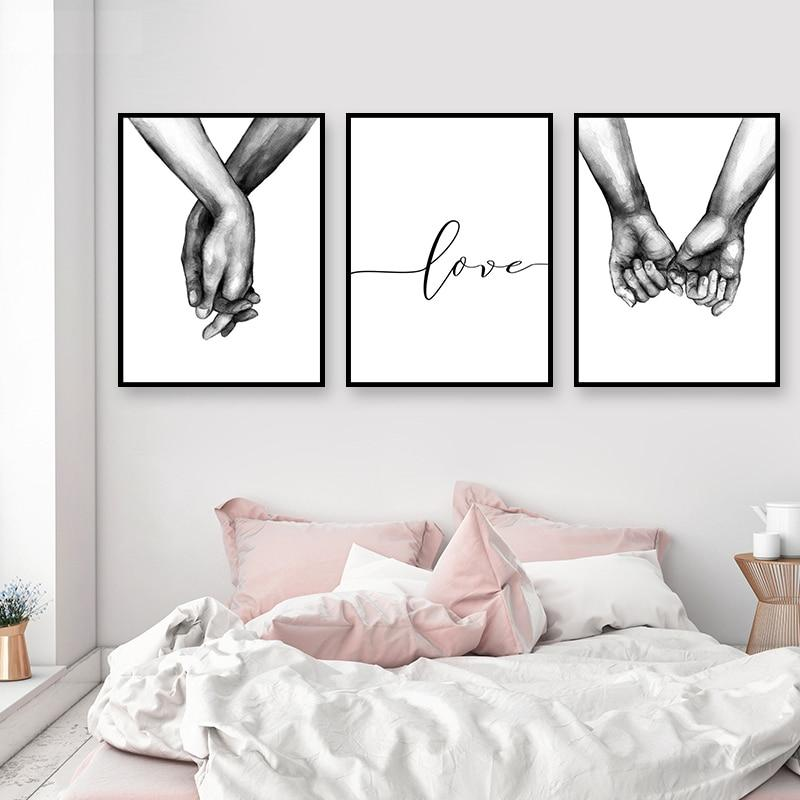 Nordic Poster Black And White Holding Hands Canvas Prints Quote Wall Pictures Living Room Abstract Minimalist