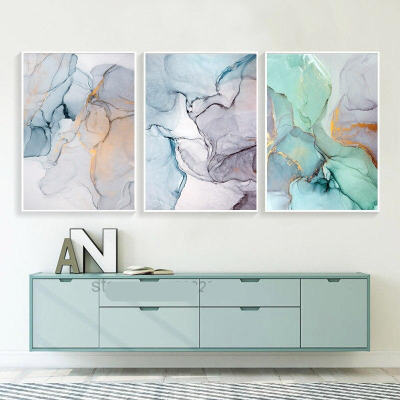 Abstract Green Stone Pattern Nordic Poster Canvas Painting Quadro Wall Pictures Cuadros Decoracion Geometric Home Unframed