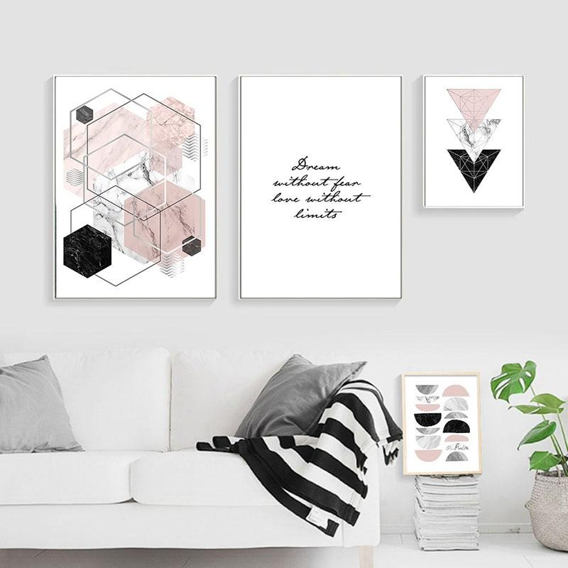 Nditb Geometric Marble Polygon Abstract Posters Minimalist Wall Art Canvas Prints Painting Nordic Decoration Pictures Room