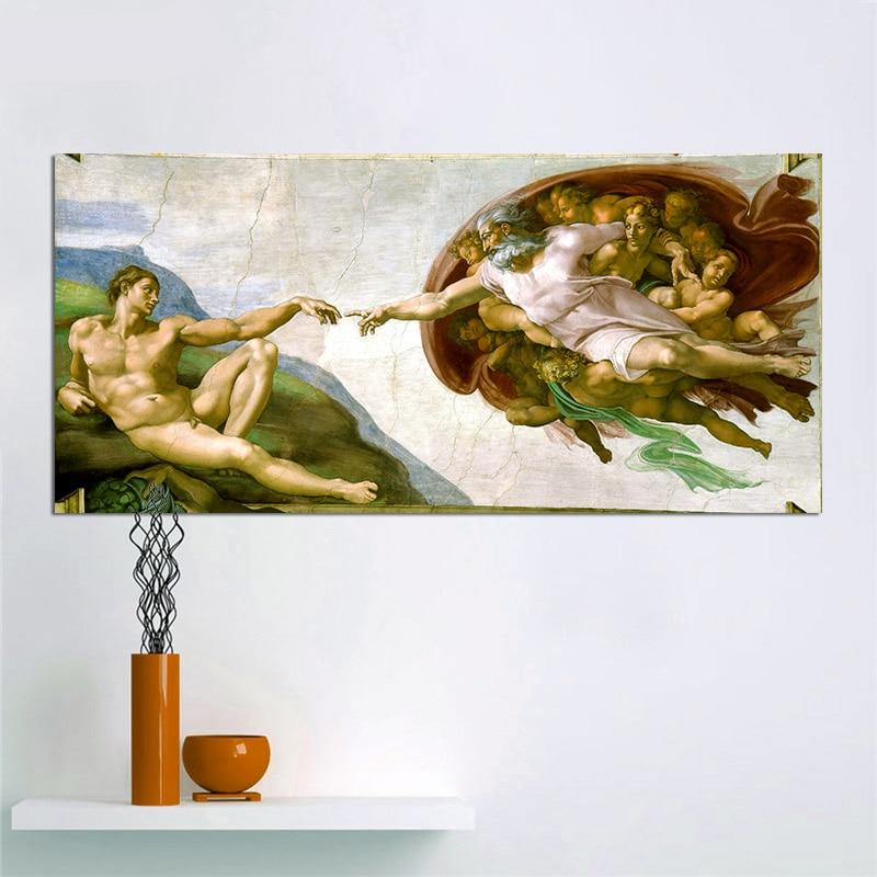 Canvas Art Print Creation Adam Fresco Painting By Michelangelo World Famous Wall Picture Poster