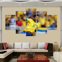 World Cup Football Posters 5 Panel Neymar Brazil Print Canvas Art Wall Unframed Paintings Living Room Picture