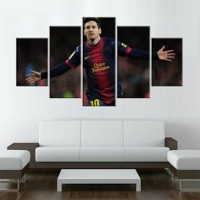 5 Piece Fc Barcelona Messi Canvas Printed Painting Living Picture Wall Art Hd Print Modern Artworks Football Poster