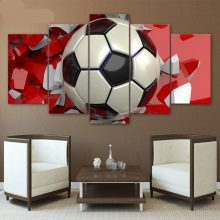 Hd Printed 5 Piece Canvas Art 3d Soccer Football Painting Wall Pictures Living Room Modern Sport Poster