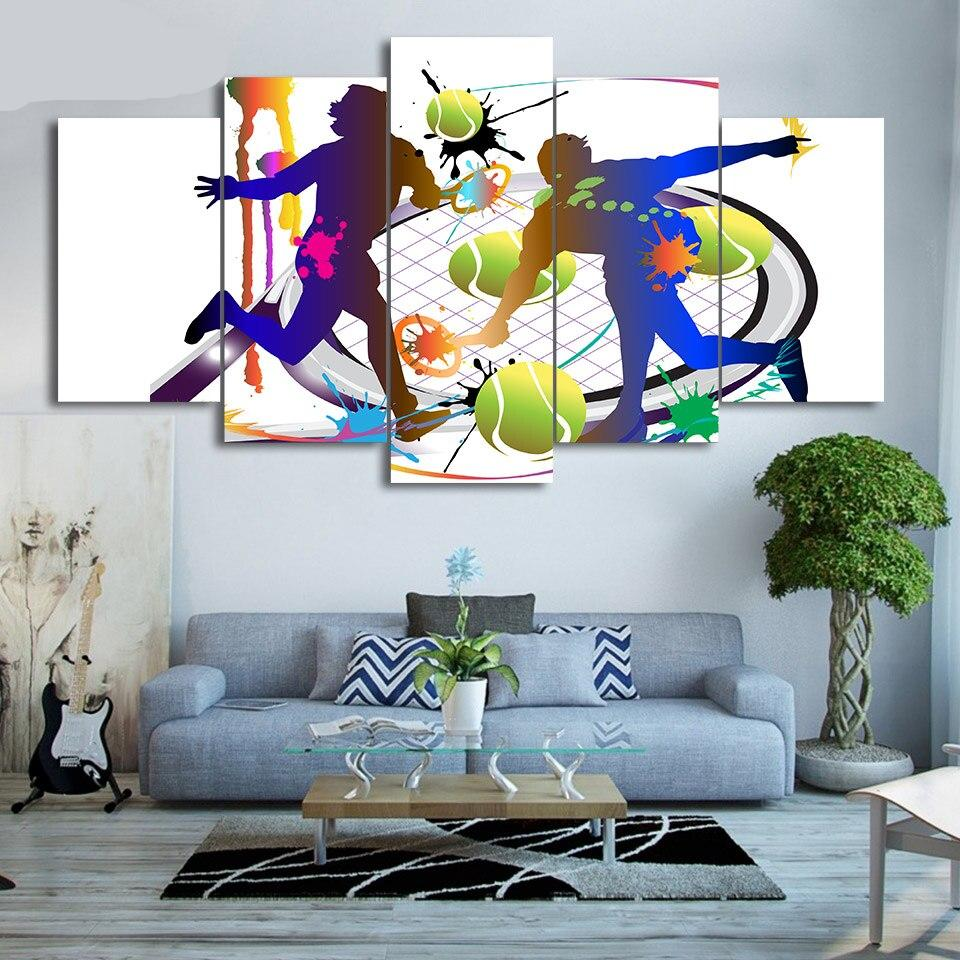 Abstract Pictures Wall Art 5 Piece Canvas Painting Hd Prints Playing Tennis Posters Loving Room Home