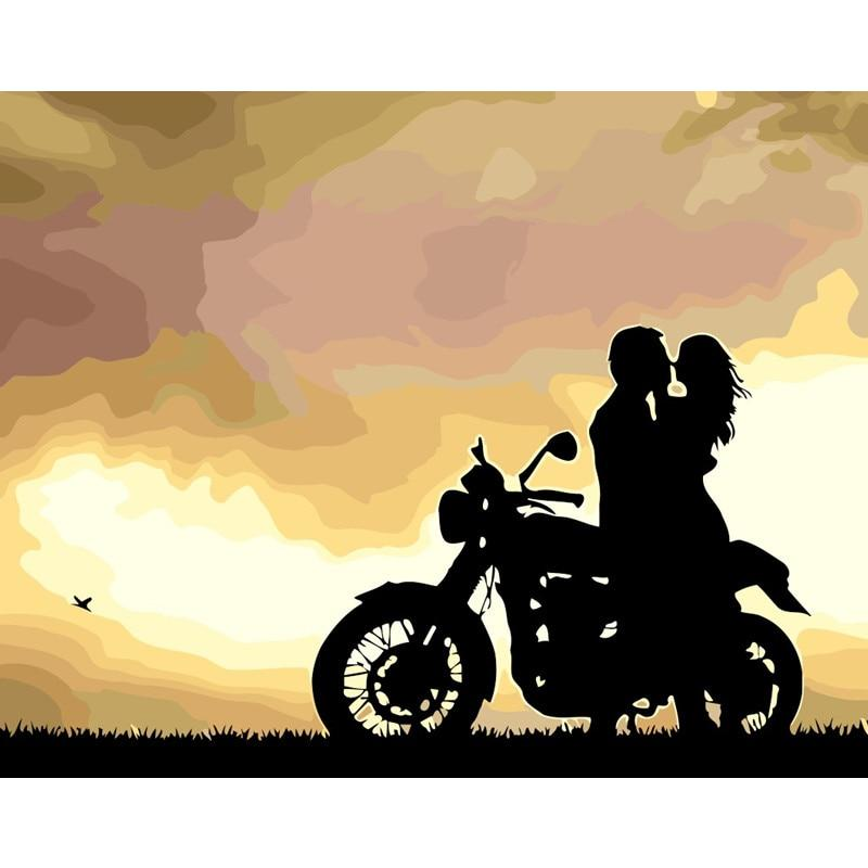 Motorcycle Love Picture Painting By Numbers Kits Landscape Paints Number Oil Drawing Pictures On Canvas Room