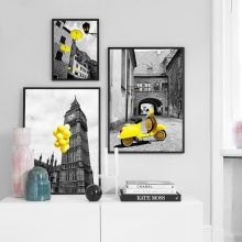 Wall Art Canvas Painting Black White Vintage Motorcycle Umbrella London Posters And Prints Pictures Living Room