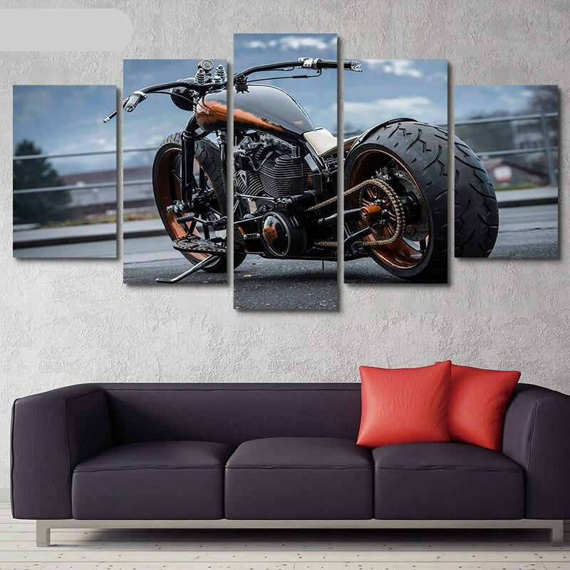 Yphyhd Canvas Wall Art 5 Pieces Motorcycle Picture Home Decoration Living Room Painting Modular Hd Print Car Poster Artwork