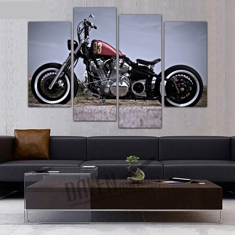 4 Panel Framed Painting Top Motorcycle Harley Canvas Print Wall Art Picture Home Decoration
