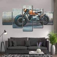 Wall Art Hd Printed 5 Pieces Motorcycle Pictures Canvas Painting Vintage Poster Living Room Home Giclee Artwork