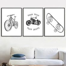 Black White Bicycle Motorcycle Skateboard Wall Art Canvas Painting Nordic Posters And Prints Pictures Baby Kids Room