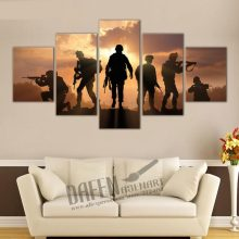 Military Soldiers Silhouettes 5 Piece Canvas Print Wall Art Painting Living Room Framed Ready To Hang
