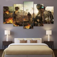 5 Piece Canvas Art Army Battlefield Soldier Posters Painting Wall Pictures Living Room