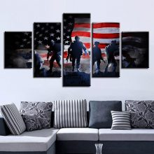 5 Pieces American Flag Soldiers Military Hd Canvas Painting Oil Print Poster Wall Art Picture Bedroom Office Home