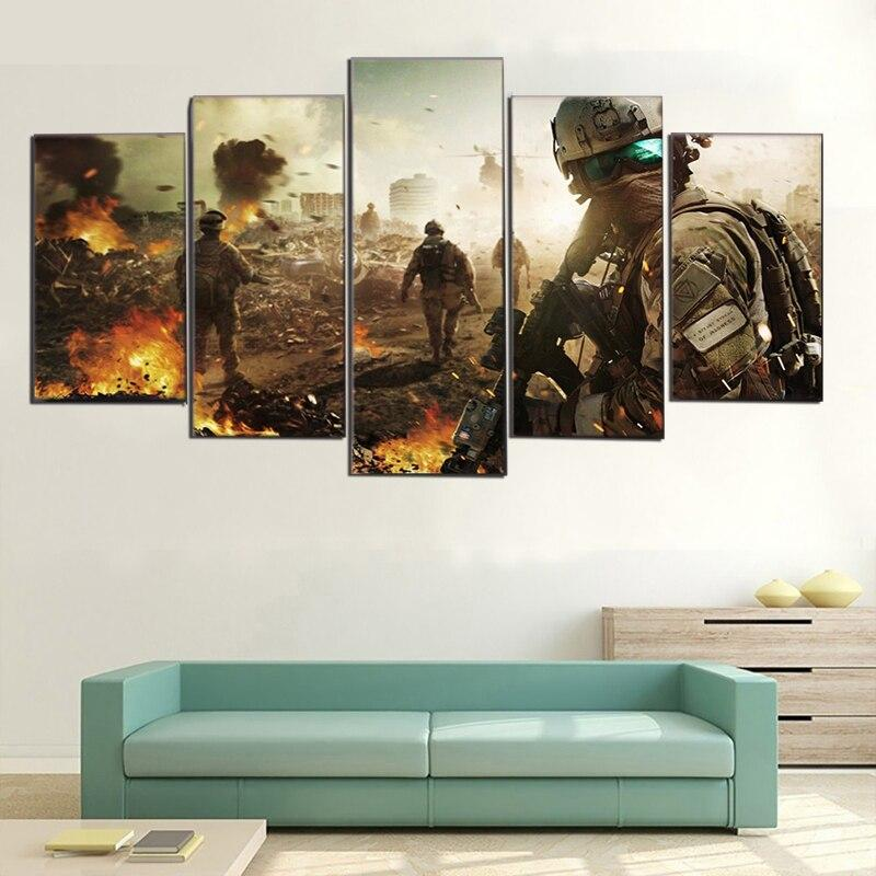 Army Battlefield Soldier 5 Pieces Modern Poster Oil Canvas Paintings Wall Art Pictures Bedroom Living Room Home